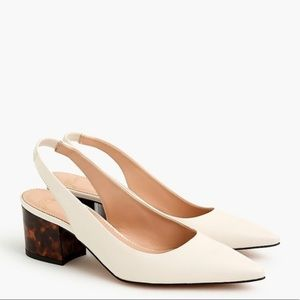 J. CREW Laney Leather Slingback Pumps in White 10